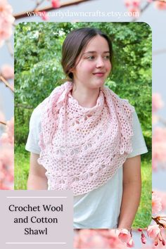 This pink asymmetrical shawl was carefully crocheted by hand! It is casual enough for everyday and dressy enough for a party! Made with reclaimed cotton/wool blend yarn, this shawl scarf is lightweight for comfortable summer wear but could also be great for spring and fall. You can wear this shawl with everything you like, in every season. This wrap is so versatile it can be worn many different ways! Tie it around your neck like a scarf, or wear it as a shawl or wrap around your shoulders. Butterfly Stitches, Bridal Shawl, Kerchief, Crochet Shawl, Shawls And Wraps, Summer Wear, Hand Knitting, Wool Blend, Night Out