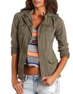 Star Studded Anorak Jacket: Charlotte Russe from Charlotte Russe. Fall Jackets, Jackets For Women, Closet Collection, Fashion Corner, Sequin Jacket, Anorak Jacket, Military Jacket, What To Wear, Fashion Outfits