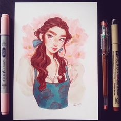 "Gefällt 13.3 Tsd. Mal, 114 Kommentare - Sara Tepes | 18 (@sarucatepes) auf Instagram: ""Belle! I plan on drawing all of the princesses and once I finish them all, I'll put all the…"""