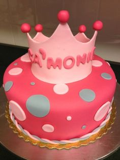 Princess Crown Fondant Birthday Cake made in Florida #cakesosimple #fondant #princesscake #crowncake #cake #princess #pink #crown #florida #fondant