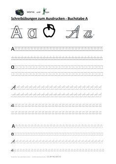 Schreibübung Vorlage Buchstabe A, ganzes Alphabet, Punktlinien, Druckschrift, Schulausgangsschrift, SAS, kostenlos