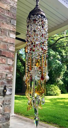 Your place to buy and sell all things handmade Glass Garden Art, Glass Art, Beaded Chandelier, Chandeliers, Crystal Wind Chimes, Vintage Garden Decor, Creation Deco, Hanging Mobile, Dream Catcher Boho