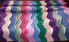Easy Ripple Afghan - - free stash buster afghan crochet patterns ༺✿Teresa Restegui http://www.pinterest.com/teretegui/✿༻