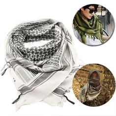 Unisex Checkered Arab Cotton Neck Scarf Wrap /Keffiyeh, White + Black
