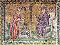 The Woman of Samaria at the Well, Scenes from the Life of Christ (mosaic). Byzantine School, (6th century). Sant'Apollinare Nuovo, Ravenna, Italy
