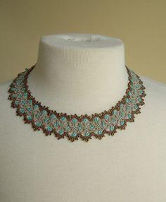 Necklace - copper and aqua