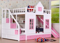 Children bunk bed wooden 2 floor ladder ark with slide bed pink children bedrooms set furniture bule children bedroom