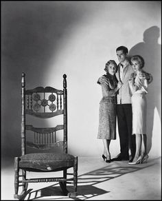 "Vera Miles, Anthony Perkins, and Janet Leigh in publicity shot for ""Psycho""."