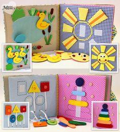 Quiet Book Busy Book Eco friendly educational Toddler door MiniMoms by concetta Diy Quiet Books, Baby Quiet Book, Felt Quiet Books, Sensory Book, Baby Sensory, Quiet Book Tutorial, Quiet Book Patterns, Diy Bebe, Travel Toys