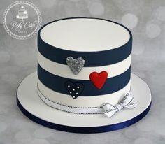 Striped Glitter Inlaid Hearts Birthday Cake. - http://pontycarlocakes.com/striped-glitter-inlaid-hearts-birthday-cake/ #Birthdaycake, #Bling, #Cake, #Ganache, #Glitter, #Inlaidhearts, #Pontycarlocakes, #Sharpedge, #Vintage