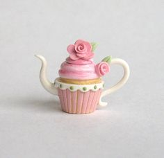 Miniature Dusty Rose Topped Cupcake Teapot OOAK by ArtisticSpirit