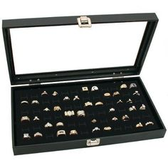Glass Top Black Jewelry Display Case 72 Slot Ring Tray | Sparkly Things Jewelry