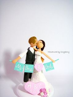 Cake topper -- Romantic Customized wedding cake topper by Clayphory on Etsy