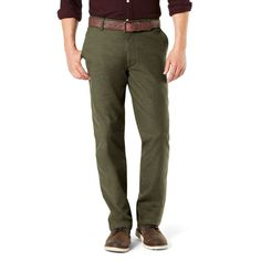 Men's Dockers Pacific Straight-Fit Washed Khaki Stretch Pants, Size: 36X32, Green