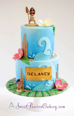 This adorable Moana themed cake has so many fun elements! Moana herself! Hawaiian Birthday Cakes, 3d Birthday Cake, Moana Birthday Party, Moana Party, Lego Birthday, Luau Cakes, Party Cakes, Mohana Cake, Festa Moana Baby