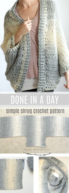 The fastest, easiest shrug crochet project ever! So simple and quick with pictur. - Crochet and Knitting Patterns Sie Poncho einfach The fastest, easiest shrug crochet project ever! So simple and quick with pictur. - Crochet and Knitting Patterns Mode Crochet, Crochet Baby, Knit Crochet, Crochet Shrugs, Crotchet, Crochet Afghans, Crochet Style, Crochet Edgings, Blanket Crochet