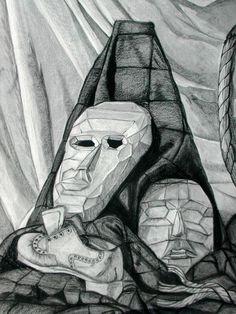 Still life drawing of masks in black and white