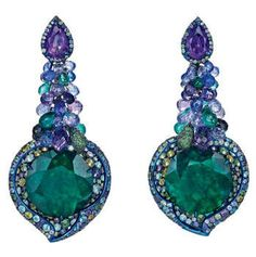 Chopard Red Carpet collection emerald, sapphire, garnet, diamond, amethyst, tourmaline and lolite earrings set in white gold and titanium