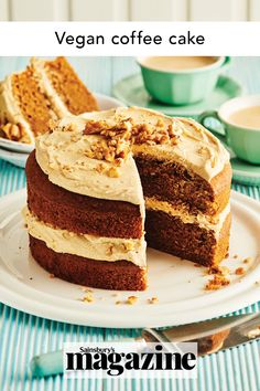 Sponsored: This delicious vegan coffee cake recipe uses OGGS Aquafaba instead of eggs. Sandwiched using a sweet coffee icing and topped with walnuts, this is a lovely afternoon treat to share. Get the Sainsbury's magazine recipe Baking Recipes, Cake Recipes, Vegan Recipes, Vegan Coffee Cakes, Coffee Icing, British Dishes, Icing Ingredients, Sweet Coffee, Cake Toppings