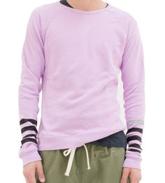 "unisex supersoft light pink raglan crew sweatshirt with ""STRIKE"" print in sleeve.  wash seperately in cold water. no bleach. tumble dry low.  100% cotton. 100% custom FREECITY"