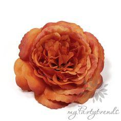 elegante Ansteckrose in orange, Ø 12cm, Haarrose von Boutique für wundervolle Accessoires zum Liebhaben! auf DaWanda.com