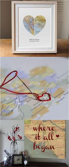 23 Clever DIY Christmas Decoration Ideas By Crafty Panda Map Crafts, Diy And Crafts, Arts And Crafts, Homemade Gifts, Diy Gifts, Craft Projects, Projects To Try, Creation Deco, Wedding Gifts