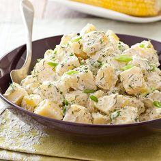 Dill Potato Salad Recipe - Cook's Country - I love the taste of dill in potato salad, but you can't get it by just adding fresh or dried dill to potato salad. To get that real dill flavor, the people at Cook's Country used three different methods, a herb sachet to cook the potatoes, a dill vinegar and fresh dill. Perfect with those barbecued country ribs!