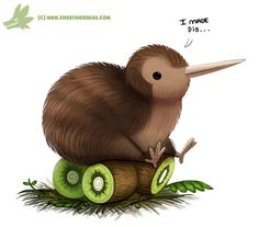 cryptid-creations: Daily Paint Kiwi Bird by Cryptid-Creations Time-lapse, high-res and WIP sketches of my art available on Patreon (: Cute Animal Drawings, Bird Drawings, Kawaii Drawings, Cute Drawings, Animal Puns, Funny Animals, Cute Animals, Illustration Inspiration, Cute Illustration