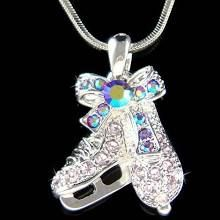 Swarovski Crystal Purple Ice figure Skating Hockey Shoes Skate Pendant Chain Girls Necklace Christmas Gift New