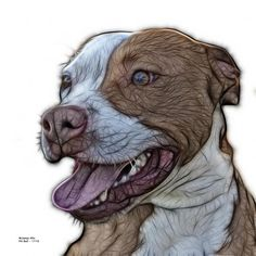 pitbull fractal pop art by artist James Ahn - 7773