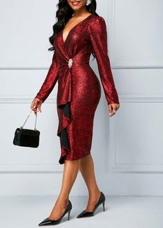 Zipper Back Long Sleeve Sequin Dress - Trend Way Dress Red Sequin Dress, Sequin Outfit, Tango Dress, I Dress, Dress Red, Tight Dresses, Casual Dresses, Two Piece Dress, Elegant Outfit