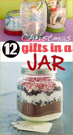 12 Christmas Gifts in a Jar.  Celebrate the Holidays with these great gift ideas.  Gift ideas for all ages!  Easy inexpensive gift ideas.  Use for friends, family, teachers, weddings and more.