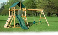 I love this set - and it's one of our top sellers! There's two outstanding things about this tower - one, it's 6'x6' square, which means they've got tons of space up top to have a little play area (and it's almost 6' to the peak of the roof - I can stand up up there!), and two, it has a tire swing AND sandbox underneath. The Summit also has room for extra climbing options like you see in the picture. Set aside about $2,300 including tax to get one of these installed for you.