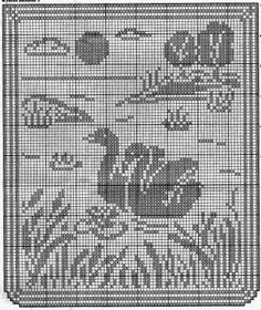 Kira scheme crochet: Curtains with swans Crochet Birds, Easter Crochet, Crochet Art, Crochet Round, Cute Crochet, Crochet Motif, Vintage Crochet, Cross Stitch Bird, Crochet Afghans