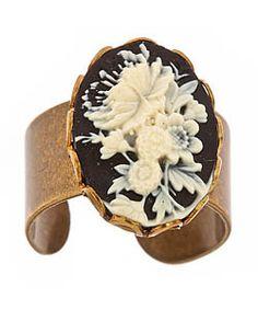 Frolick Black Floral Ring