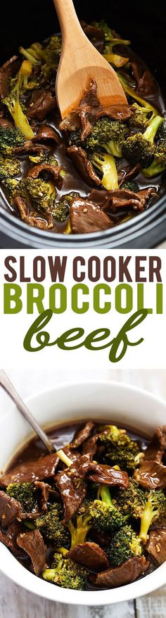 Super easy Slow Cooker Broccoli Beef! The sauce is AMAZING – so much better tasting and healthier than takeout! | Creme de la Crumb  #HealthyEating #CleanEating  #ShermanFinancialGroup