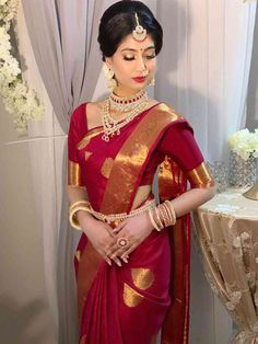 Traditional red has never looked this fascinating ❤️ saree . Bridal Sarees South Indian, Indian Bridal Outfits, Indian Bridal Fashion, Indian Bridal Wear, Indian Dresses, Indian Wear, Red Saree Wedding, Kerala Wedding Saree, Wedding Silk Saree