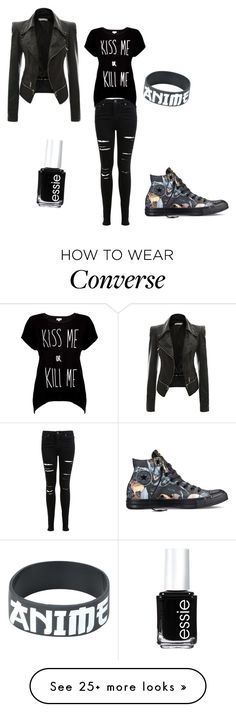 """""""My First Polyvore Outfit"""" by ashambros on Polyvore featuring Miss Selfridge, Essie, Rotten Roach and Converse"""