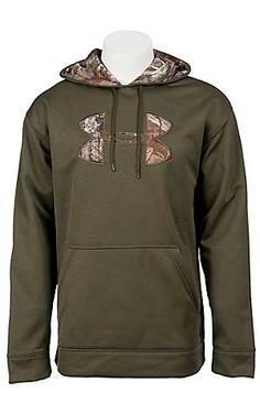 Under Armour Cold Gear Sage Green Tackle Twill Big Camo Logo Hoody $64.99