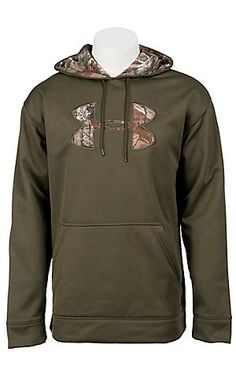 Under Armour Cold Gear Sage Green Tackle Twill Big Camo Logo Hoody $64.99