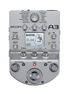 Zoom A3 Acoustic Effects and Amp Simulator - BC Wholesalers Zoom's A3 features 40 effects for acoustic guitar, Preamp and simulator for 16 Acoustic Body Type, modelling 28 of the worlds most famous acoustic guitars.