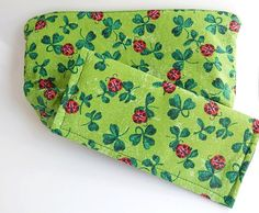 Green Sparkly Ladybug Cosmetic Bag and by MountainAirBoutique