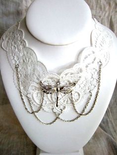 Vintage White Lace Dragonfly Necklace by MyOctoberCountry on Etsy, $25.00