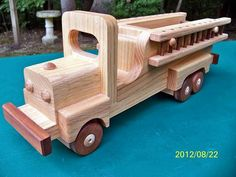Wooden Handmade toys Firetruck Oak and Walnut by mikebtoys