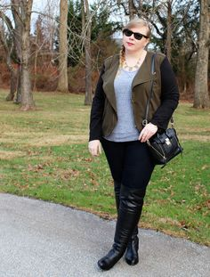 DIY FATSHION - psblogger, fatshion, fashion, plus-size, over the knee boots, moto jacket, plus size blogger, fblogger, ootd