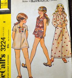 Vintage Sewing Pattern McCall's 3224 Girls' Dress or Pullover Top size 8  Uncut Complete FF by GoofingOffSewing on Etsy