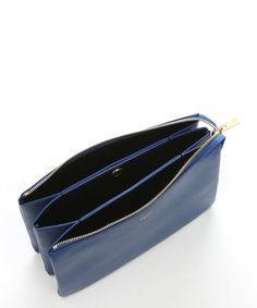 Celine bright blue leather 'Solo Trio' cosmetic pouch | BLUEFLY up to 70% off designer brands