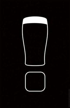 Anúncio para a cerveja Guinness, utilizando a conhecida silhueta do copo e um porta-copos formando um ponto de exclamação.  A criação da BBDO, New York.