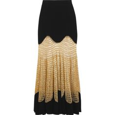 Alexander McQueen Metallic open knit-paneled ribbed wool-blend maxi... (19.538.700 IDR) ❤ liked on Polyvore featuring skirts, black, ribbed maxi skirt, metallic maxi skirt, floor length skirt, ribbed skirt and wool blend skirt