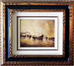 """WILLARD Dias Basilio - """"Marinha com barcos"""" óleo s/tela, 22 x 27cm. Assinado, datado e local"""